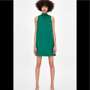 NWT ZARA Green Sleeveless Dress w/ Black Piping S